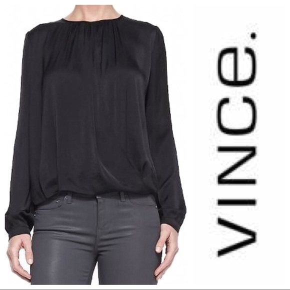 Vince Tops - Vince Black Crossover Long Sleeve Blouse 2 New!